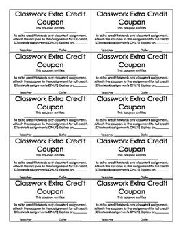 Classwork Extra Credit Coupon