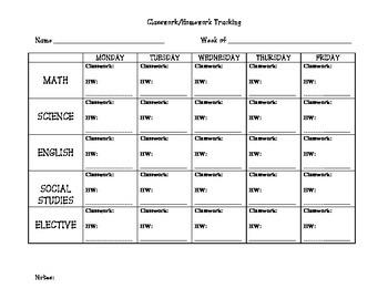 Classwork & Homework Tracking