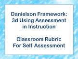 Classwork Rubric, Assessment, Student Self Assessment, Danielson 3D