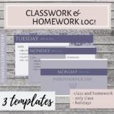 FREE Classwork and Homework Log (Google Slides EDITABLE)