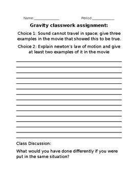 """Classwork assignment for """"Gravity"""" the movie."""