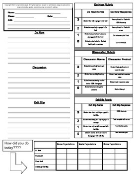 Classwork sheet with rubric