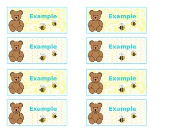 Classy Bears & Bees Carpet Name Tags