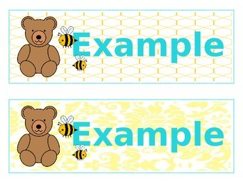 Classy Bears & Bees Large Name Tags