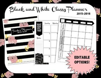 Classy Black & White Planner/Binder 2015-2016