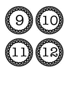 Classy Black and White Number Labels
