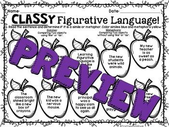 Classy Figurative Language (Back to School Literary Device Unit)