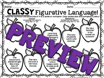 Classy Figurative Language (Back to School Literary Device Unit)