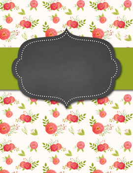 Classy Floral Black and Pink Editable Binder Covers and Spines