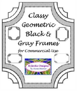 Classy Geometric Black/Gray Frames - Clip Art