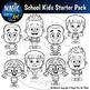 Classy Kids Clip Art Starter Pack - 16 PIECE BUNDLE! Elementary School Diverse