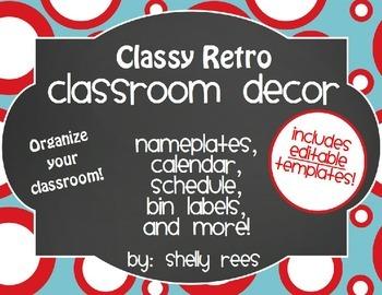 Classroom Decor Retro Classroom Theme - EDITABLE