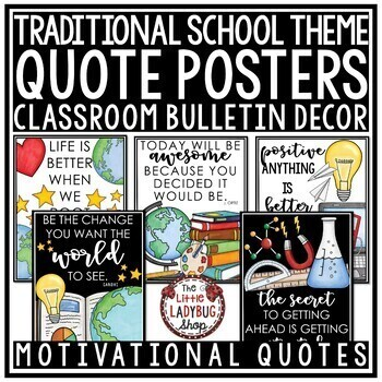 Traditional Chalkboard Classroom Decor EDITABLE- Inspirational Quotes Posters