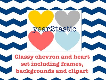 Classy chevron and heart frames, backgrounds and clipart {year2tastic}
