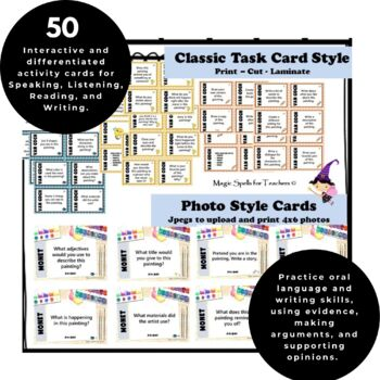 Claude Monet - Art Task Cards - 50 Card Set