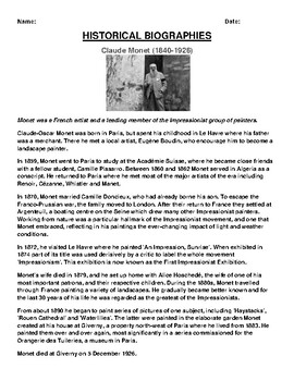 Claude Monet Biography Article and (3) Assignments