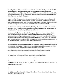 Claude Monet Biography Article and Assignment Worksheet