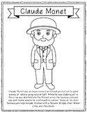 Claude Monet, Famous Artist Informational Text Coloring Page Craft or Poster