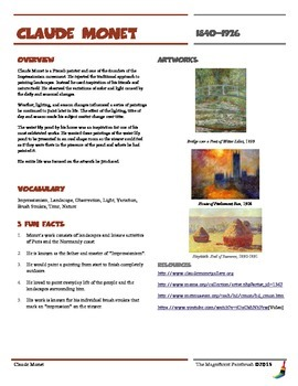 Claude Monet Informational Worksheet