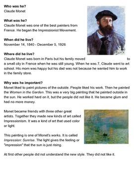 Claude Monet One-Sheeter