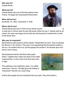 Claude Monet One-Sheeter