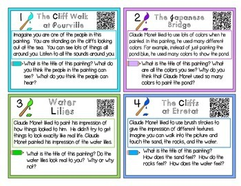 Claude Monet QR Task Cards - Read and Write about Claude Monet