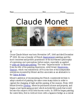 Claude Monet Worksheet