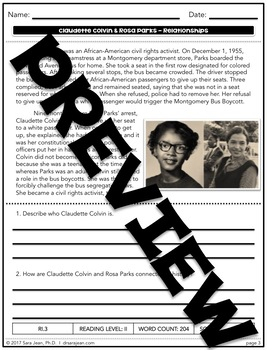 Claudette Colvin & Rosa Parks • Reading Comprehension Passages Questions RL I/II