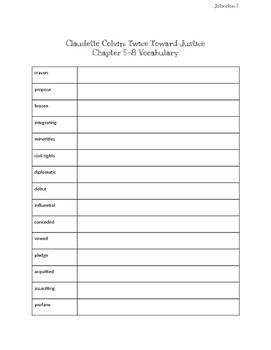 Claudette Colvin Twice Toward Justice: Vocabulary Lists