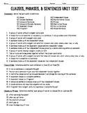 Clauses, Phrases, & Sentences Unit Test