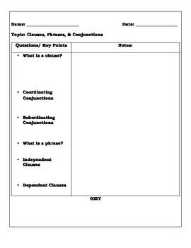 Clauses, Phrases, Subordinating and Coordinating Conjunctions Cornell Notes