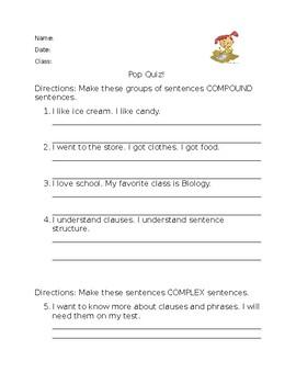 Clauses, Phrases, Types of Sentences POP QUIZ