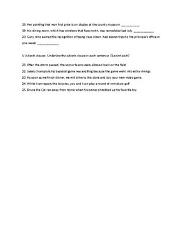 Clauses Quiz or Practice