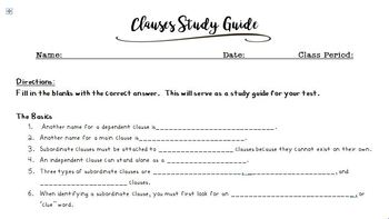 Clauses Study Guide