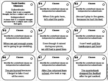 Independent and Dependent Clauses Task Cards (Grammar Practice)
