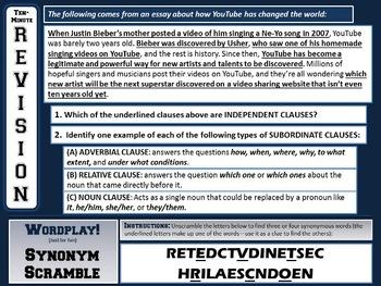 Clauses - Ten-Minute Revision Unit #4