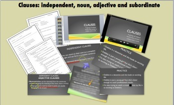 Clauses (independent, noun, adjective & subordinate): Video, PP, Notes, Quizzes