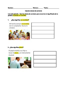 Claves de contexto / Context clues worksheet