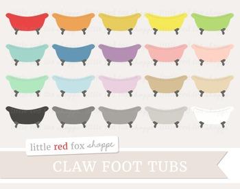 Claw Foot Tub Clipart; Bathroom, Bath Tub