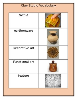 Clay Studio Vocabulary