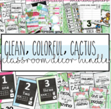 Clean, Colorful, Cactus / Succulents Classroom Decor Bundle