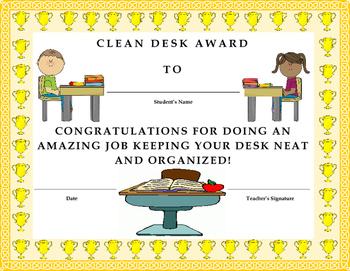 Clean Desk Award Certificate- Kids Will Love It!!