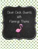 Clean Desk Awards Flamingo Theme Pink Lime Green Polka Dots
