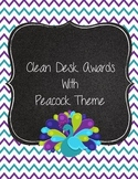 Clean Desk Awards Peacock Theme Lime Green, Teal, and Purple