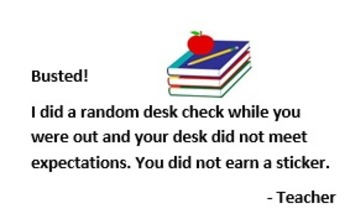 Clean Desk Club Individual Sticker Chart promotes organization