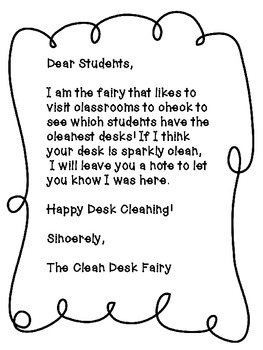 Clean Desk Fairy-Motivation for Organization- FREEBIE