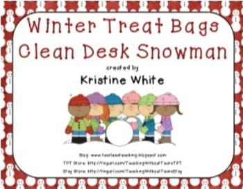 Clean Desk Snowman Treat Bag - Bag Toppers