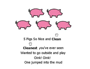 Clean & Dirty introductory non-fiction printable/story + 5 Clean & Squeaky Pigs