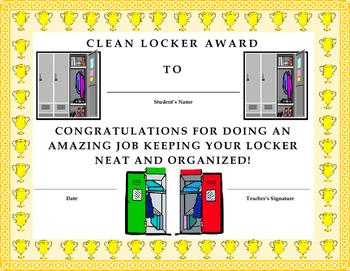 Clean Locker Award Certificate- Kids Will Love It!!