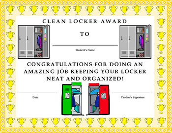 Clean Locker Award Certificate- Kids Will Love It!!